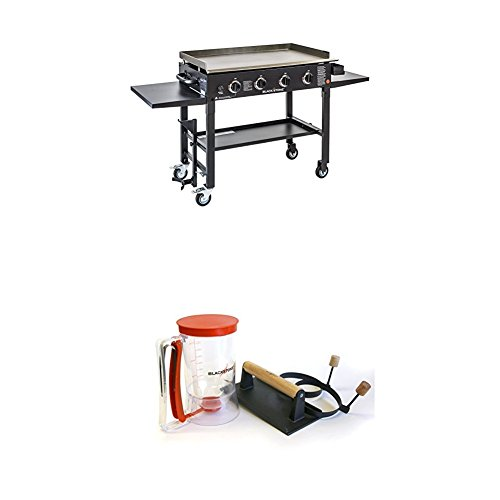 Blackstone 36 inch Outdoor Flat Top Gas Grill Griddle Station – 4-burner – Propane Fueled – Restaurant Grade – Professional Quality WITH Blackstone Grill and Griddle Breakfast Tool Kit  With Pancake Batter dispenser, Egg Rings and Bacon Press