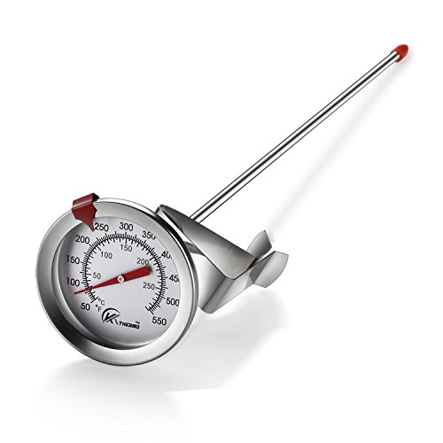 KT THERMO Deep Fry Thermometer With Instant Read,Dial Thermometer,12″ Stainless Steel Stem Meat Cooking Thermometer,Best for Turkey,BBQ,Grill