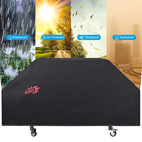 VicTsing Grill Cover 36inch, 600D Dust-Proof Oxford Fabric, Waterproof and UV Resistant BBQ Cover,Wider and Longer Hook&Loop Fastener for Blackstone 36inch Griddle, Black