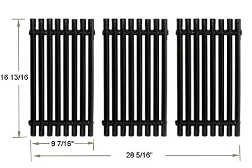 BBQ funland GP0193 Porcelain Steel Channel Cooking Grid Replacement for Gas Grill Model Charbroil 463440109, Sold as a set of 3