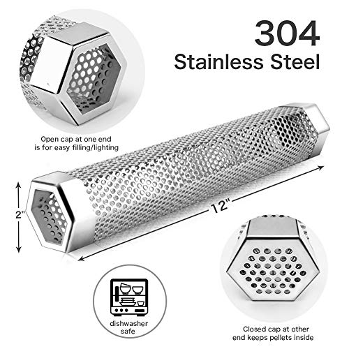 "Pellet Smoker Tube, 12"" Stainless Steel BBQ Wood Pellet Tube Smoker for Cold/Hot Smoking, Portable Barbecue Smoke Generator Works with Electric Gas Charcoal Grill or Smokers, Bonus Brush, Hexagon"