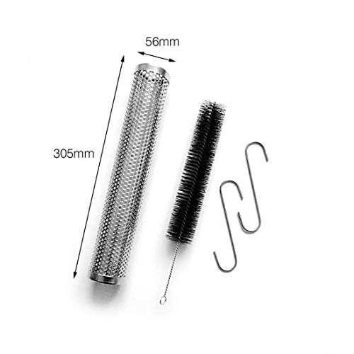 Massun 304 Stainless Steel 12 inch Round Perforated Mesh Smoker Tube + Brush +2 Hooks Suitable Any Grill Smoker