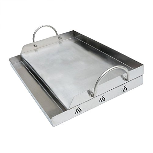 Onlyfire Universal Stainless Steel Rectangular Griddle for Gas BBQ Grills, 23″ x 16″