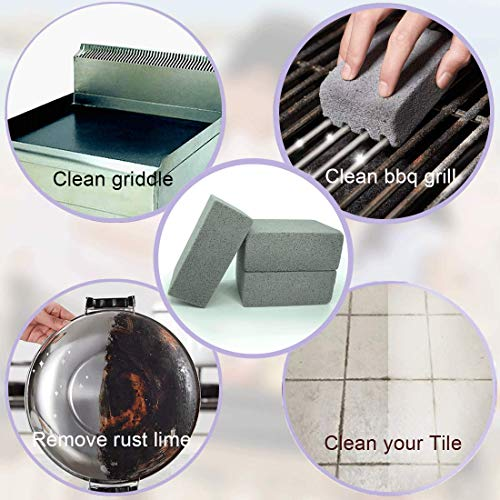 MARYTON Griddle Grill Cleaning Brick – 3 Pack Magic Pumice Stone Cleaner for BBQ Grease & Rust