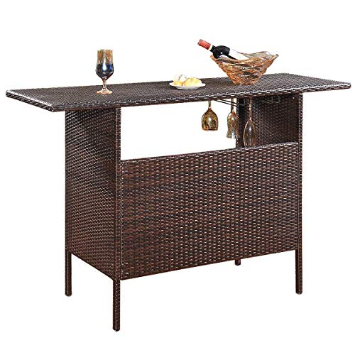 Giantex Outdoor Patio Rattan Wicker Bar Counter Table with 2 Steel Shelves, 2 Sets of Rails Garden Patio Furniture, 55.1″X18.5″X36.2″(LXWXH), Brown