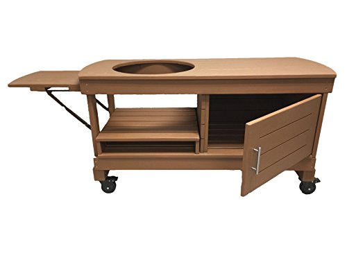 J S Designs Shop, LLC Big Green Egg Cabinet Table for Extra Large BGE with Free Drop Leaf Shelf