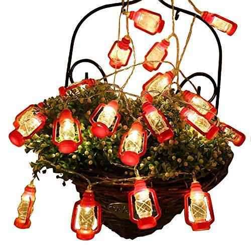 AceList 20 LED Red Lantern Mini Kerosene String Lights for Patio Garden Holiday Home Ramadan Decorations (Warm White Light)