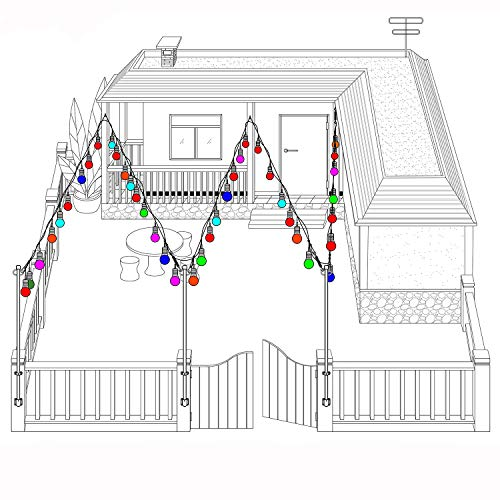 Areful Outdoor String Lights, 17.3 Ft Weatherproof Connectable Decorative Commercial Lighting Strands with 10 Hanging Sockets and Colored S14 Bulbs for Home, Business or Party Decoration