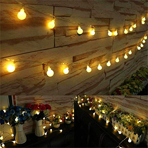 AMARS 33 Feet Globe LED String Lights Battery Operated Room Hanging Fairy Lights, Warm White, Ambient Lighting for Bedroom, Indoor, Camping, Christmas, Curtain, Tapestry, Party