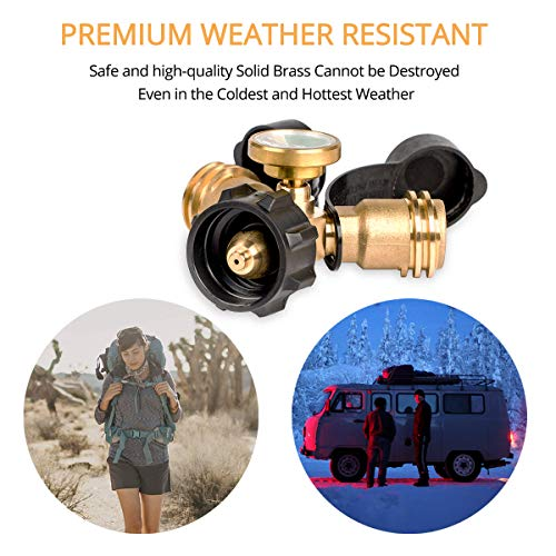 GASLAND Propane Adapter, Propane Tank Splitter with Gauge, QCC1 Type1 Propane Tank Gauge, LP Gas Adapter Y-Splitter Tee Grill Connector for Propane Cylinder, RV Camper, BBQ Gas Grill, Heater