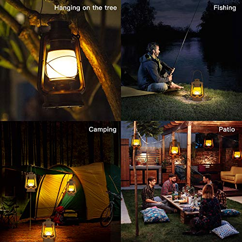 Flame Light Vintage Lantern, Realistic Flicker Flame Camping Lamp Battery Operated LED Night Lights Landscape Decorative for Garden Patio Deck Yard Path (Copper)