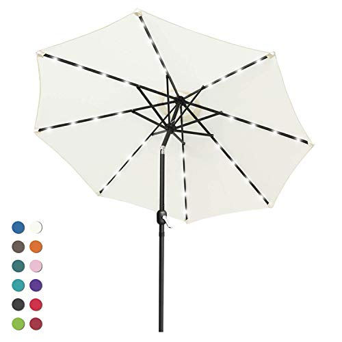 ABCCANOPY Solar Umbrellas Patio Umbrella 9 FT LED Umbrellas 32LED Lights with Tilt and Crank Outdoor Umbrella Table Umbrellas for Garden, Deck, Backyard, Pool and Beach,12+Colors, (Light Beige-1)
