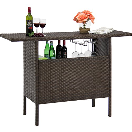 Best Choice Products Outdoor Patio Wicker Bar Counter Table Backyard Furniture w/ 2 Steel Shelves and 2 Sets of Rails, Brown
