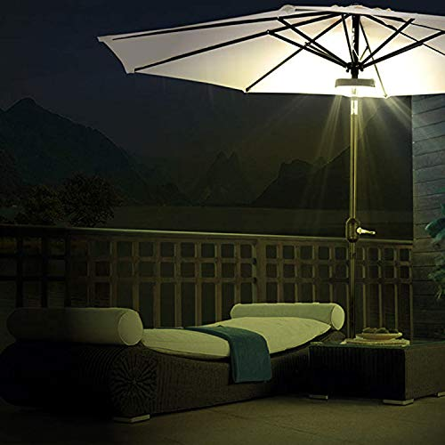 IMPRESS LIFE Set of 2 Patio Cordless Umbrella Light, 24 Warm White LEDs at 200 Lumens, 4 x AA Battery Operated with Remote Control, Outdoor Balcony Umbrella Pole Mounted Lights for Camping Tents, BRPG