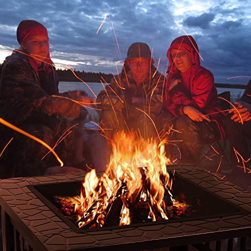 "femor 32"" Fire Pit Table Outdoor, Multifunctional Patio Backyard Garden Fireplace Heater/BBQ/Ice Pit, Square Stove with Barbecue Grill Shelf and Waterproof Cover"