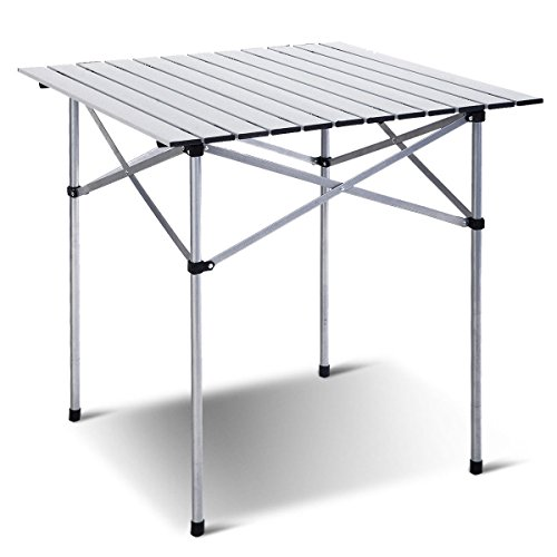 Giantex Roll Up Portable Folding Camping Square Aluminum Picnic Table w/Bag (27-3/5″)