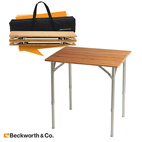 Beckworth & Co. SmartFlip Bamboo Portable Outdoor Picnic Folding Table with Adjustable Height & Carry Bag – Standard