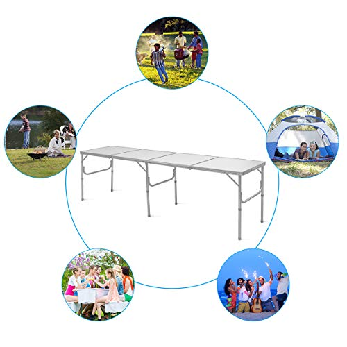 Giantex 8FT Folding Portable Aluminum Table with Carrying Handle, Waterproof Anti-Slip Foot Design, Easy Setup for Indoor, Outdoor, Picnic, Party Camping