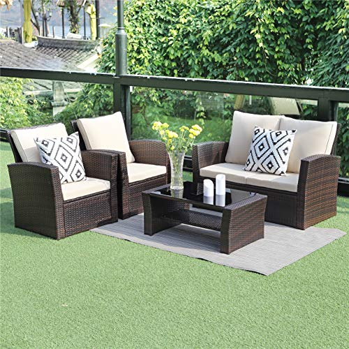 Wisteria Lane 5 Piece Outdoor Patio Furniture Sets, Wicker Ratten Sectional Sofa with Seat Cushions,Brown
