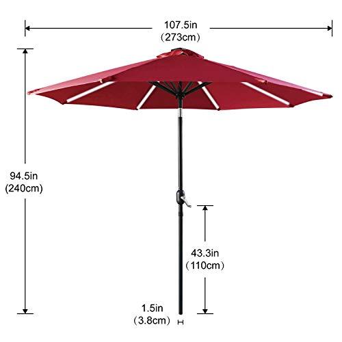 ABCCANOPY Patio Umbrella Solar Powered Outdoor Umbrella, 9 FT Market Umbrella 8 Ribs with Solar LED Light Bars, Push-Button Tilt and Crank