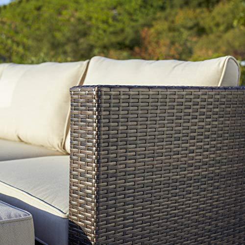 Supernova Outdoor Furniture 12 Pieces Garden Patio Sofa Set | Wicker Rattan Sectional Sofa | Fully Assembled | Aluminum Frame | Brown