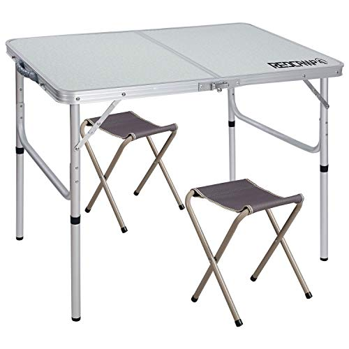"REDCAMP Folding Camping Table Adjustable, Portable Picnic Table with 2 Chairs, Aluminum White 35.4″x23.6″x15""/27.6″"