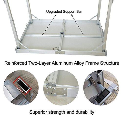 Acelife Folding Picnic Camping Table Height Adjustable with Umbrella Hole and 4 Aluminum Folding Stools