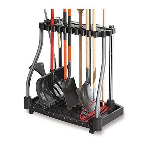 J&M Tool Tower w/Castors Garden Tools Organizer Store Rakes Shovels Brooms Black