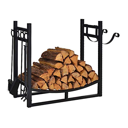 Firewood Rack Indoor Outdoor w/ 4 Tools, 3ft Log Rack Fire Wood Holders Storage Carrier by Patio Guarder, Heavy Duty Steel Log Holder with Kindling Holder for Backyard Garden Firepit Fireplace, Black