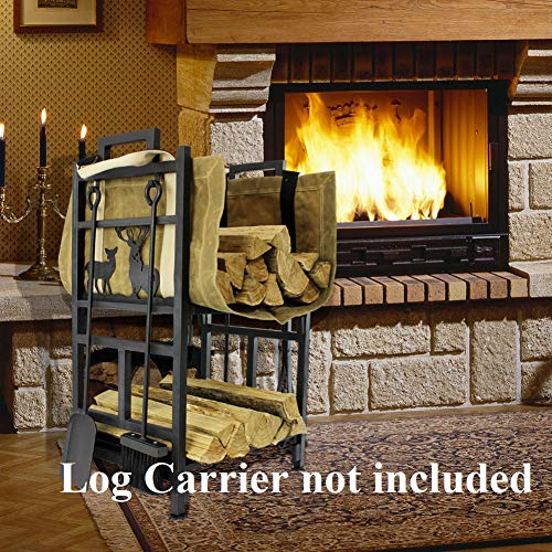INNO STAGE Fireplace Log Holder 2 Layer Iron Fire Wood Rack with 4 Firepit Tools Set – Brush, Shovel, Tong & Hook – No Screws are Required for Lumber Storage Stacking Assembly !