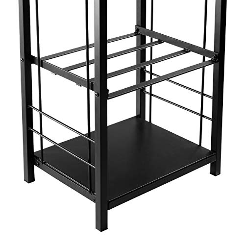 DOEWORKS All-in-One Heavy Duty Hearth Firewood Rack with Fireplace Tools Set, 18″ Wide x 27.5″ Tall Log Holder, Black