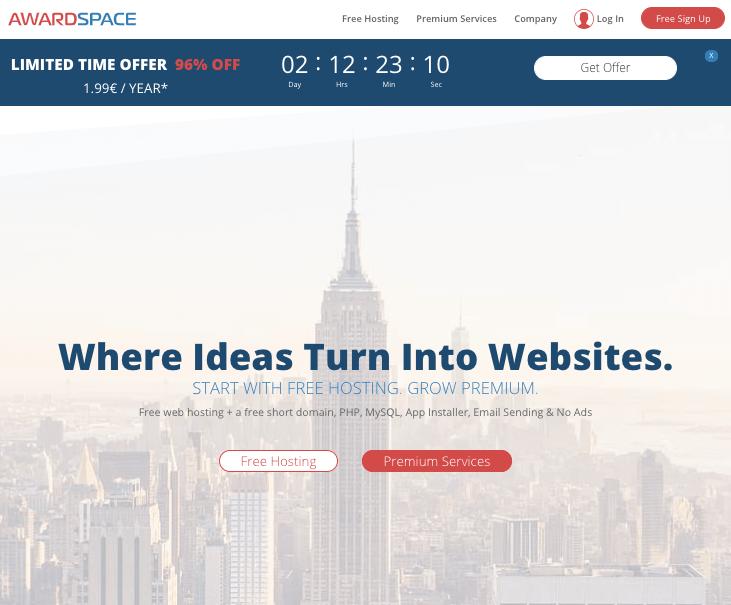 awardspace - best free wordpress hosting