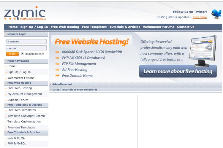 zymic - a free wordpress hosting