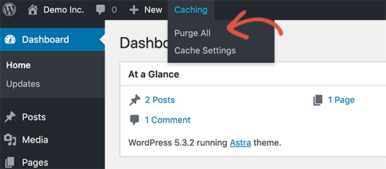 Clear cache on the WordPress Website