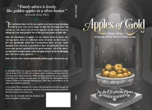 "The cover of ""Apples of Gold"", showing an illustrated image of golden apples piled high in an ornate silver bowl on a pedestal."