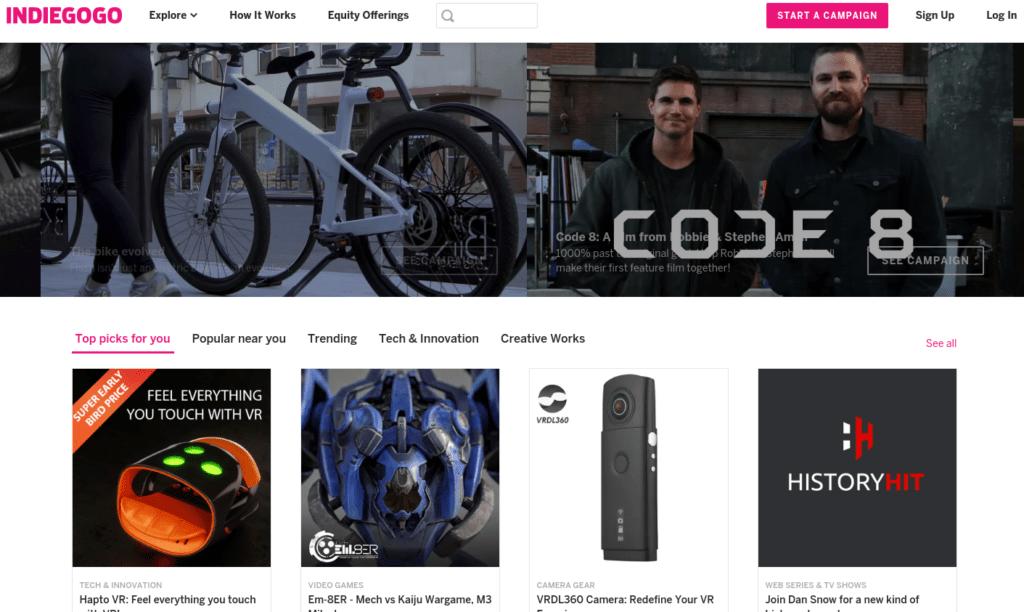 Indiegogo クラウドファウンディングサイト