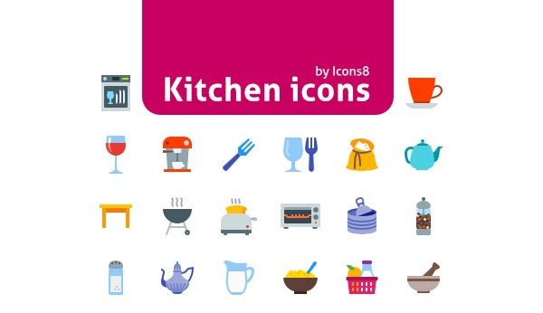 50 Colorful Kitchen Icons Set Free Download (PNG, SVG and EPS)