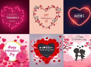 25 Free Happy Valentines Day Card,Wishes & background Vector