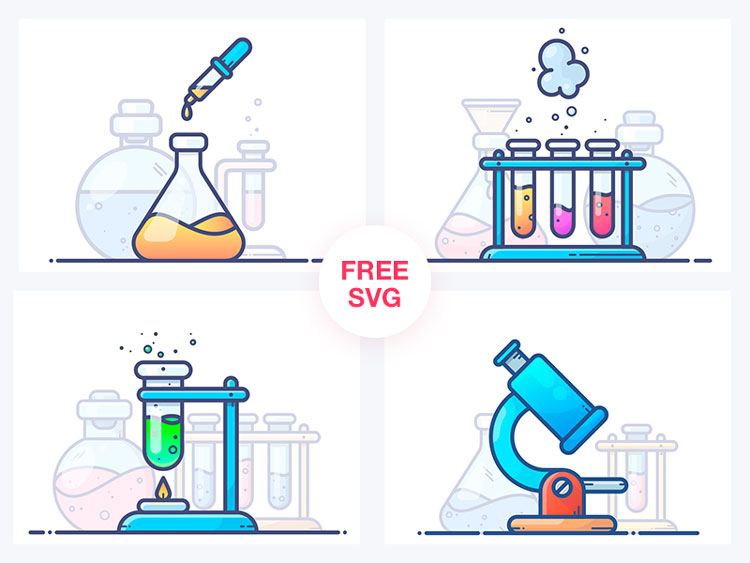 Minimalistic Chemistry Lab Illustrations Free In PNG & SVG