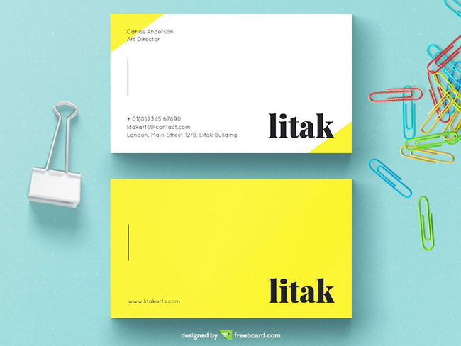 Yellow And White Business Card PSD Free Download
