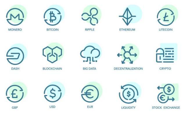 free bticoin icons set