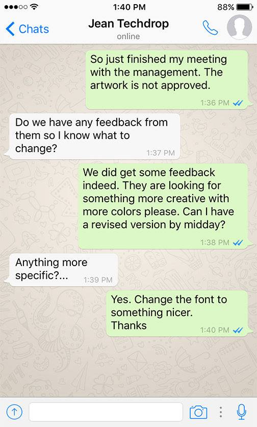 Funny WhatsApp Conversation Between Client and Designer