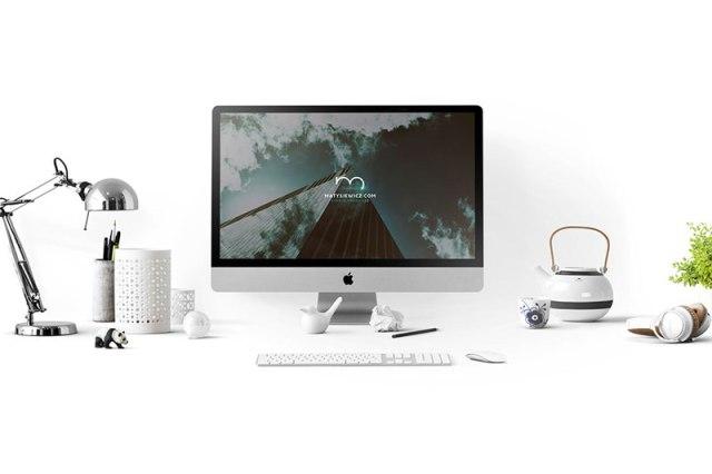 realistic iMac mockup psd