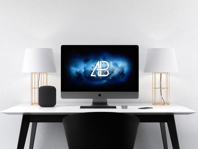 free iMac mockup psd template
