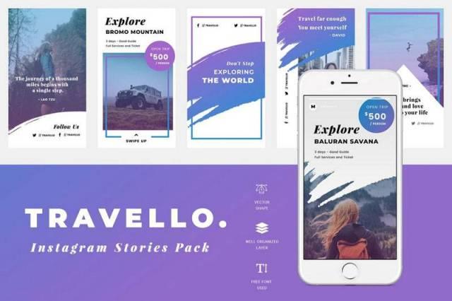 Instagram Travel Post & Stories PSD Templates