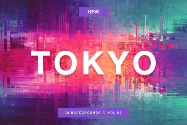 Tokyo City Glitch Backgrounds