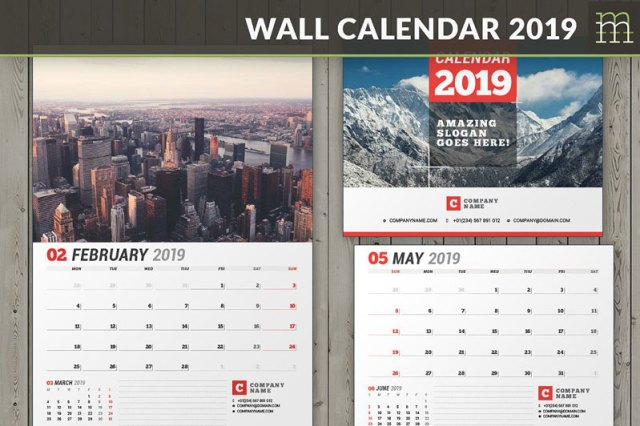Wall Calender Templates 2019