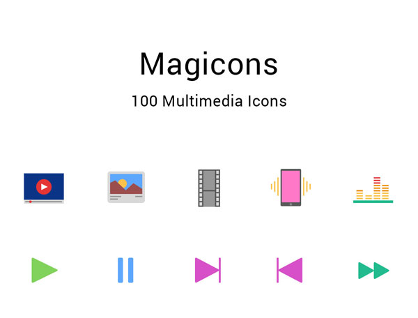 Free Multimedia Flat Icons