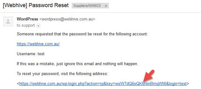 How to change your WordPress password - Password reset email text