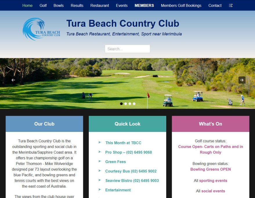 Webhive Website - Tura Beach Country Club New Site